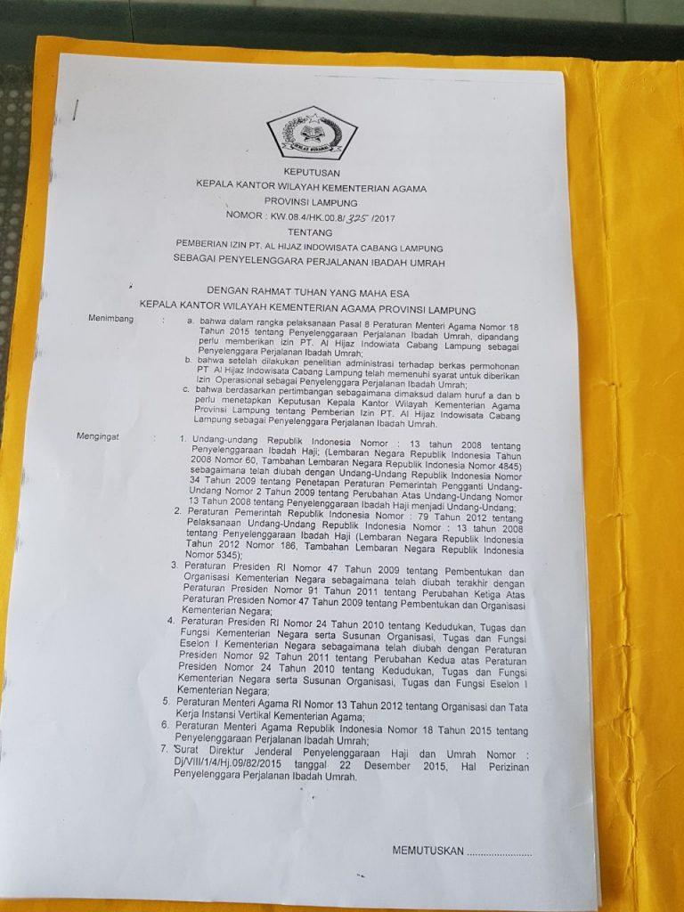 SK Kantor Cabang Lampung